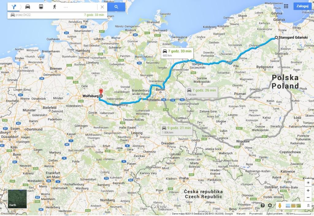 Wolfsburg mapa trasy